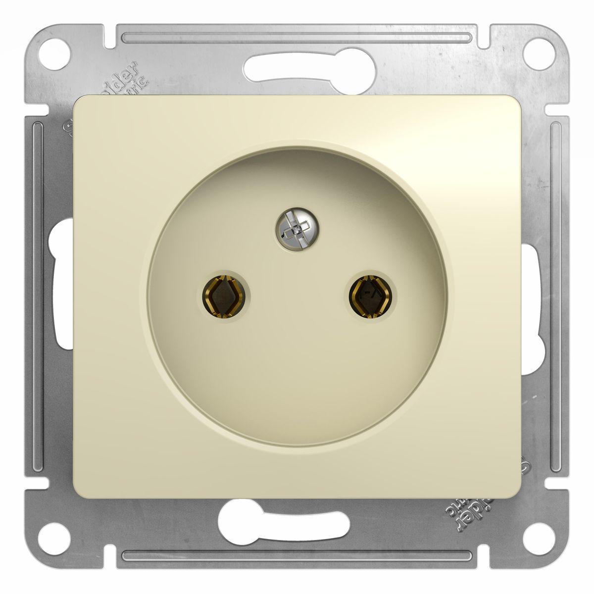 Розетка одинарная Schneider Electric Glossa, цвет: бежевыйGSL000241Одинарная розетка Schneider Electric Glossa без заземляющего контакта, скрытой установки, без шторок, имеет винтовые клеммы. Легкая установка. Тип розетки С (евророзетка).