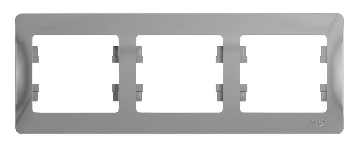 Рамка для встраиваемой розетки Schneider Electric Glossa, на 3 поста, горизонтальный монтаж, цвет: алюминийGSL000303Рамка Schneider Electric Glossa выполнена из пластика и используется для окантовки встраиваемой розетки. Монтаж изделия горизонтальный. Рамка отвечает основным требованиям безопасности и удобства монтажа. Современный дизайн и элегантная цветовая гамма подойдут к любому интерьеру. Размер рамки: 22,5 х 8,5 х 1 см.