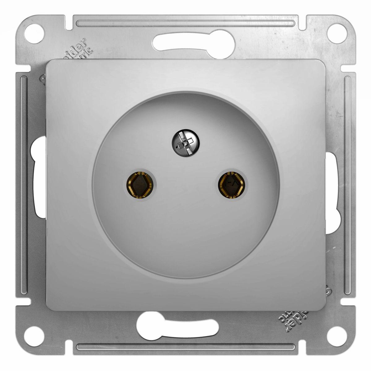 Розетка одинарная Schneider Electric Glossa, цвет: алюминийGSL000341Одинарная розетка Schneider Electric Glossa без заземляющего контакта, скрытой установки, без шторок, имеет винтовые клеммы. Легкая установка. Тип розетки С (евророзетка).