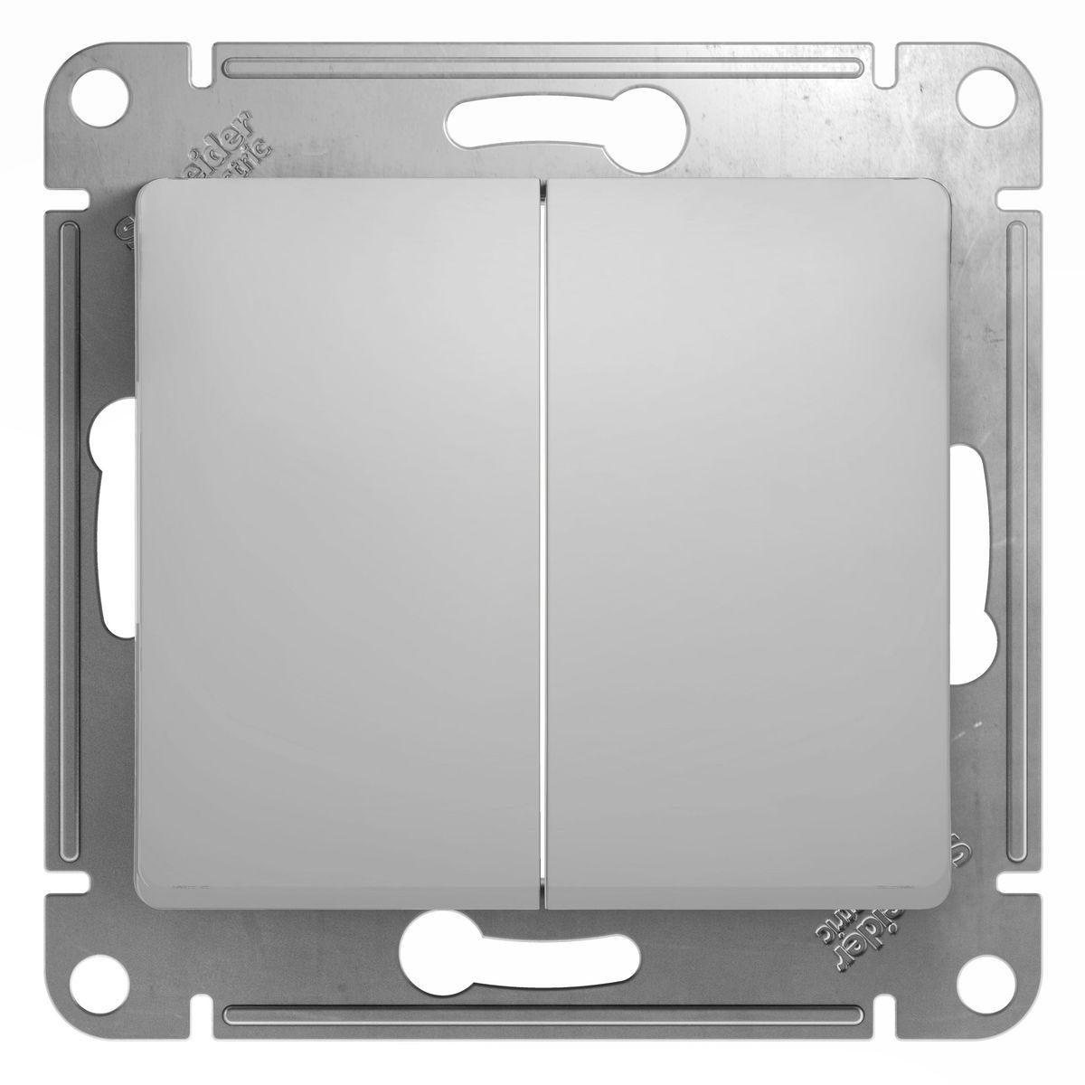 Выключатель Schneider Electric Glossa, двойной, цвет: алюминийGSL000351Двойной выключатель Schneider Electric Glossa предназначен для скрытой установки. Изделие выполнено из прочного пластика и стали. Выключатель имеет специальные фиксаторы, которые не дают ему смещаться как при монтаже, так и в процессе эксплуатации. Винтовые зажимы кабеля обеспечивают надежную установку к электросети с помощью отвертки. Такой выключатель станет удачным решением для дома и дачи.