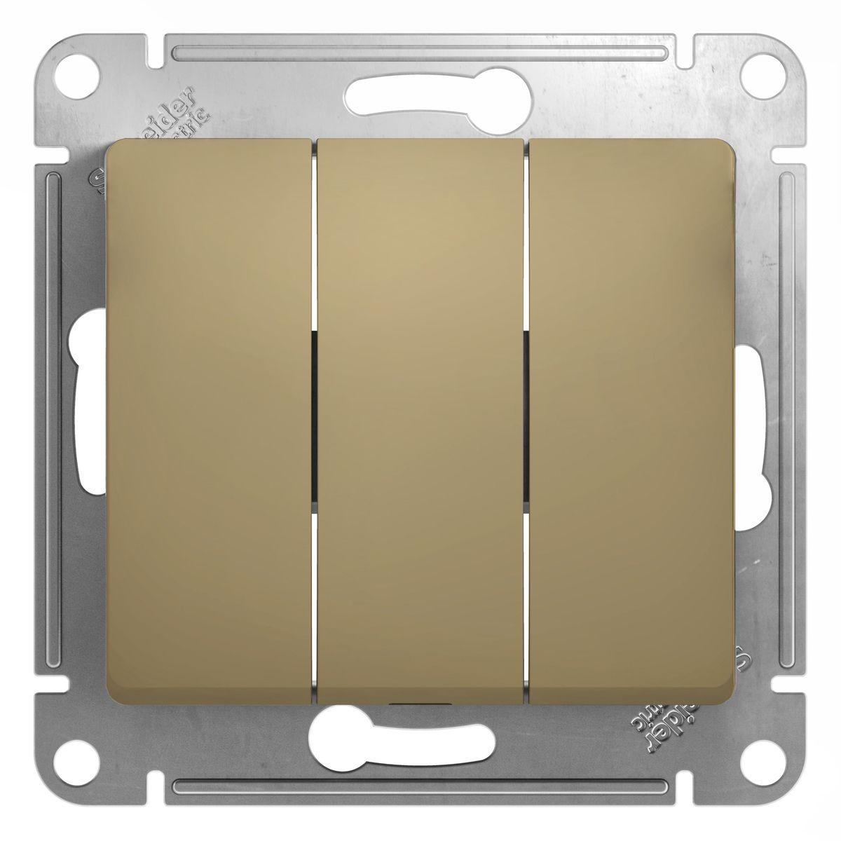Выключатель Schneider Electric Glossa, тройной, цвет: титанGSL000431Тройной выключатель Schneider Electric Glossa выполнен из прочного пластика и стали. Выключатель имеет специальные фиксаторы, которые не дают ему смещаться как при монтаже, так и в процессе эксплуатации. Винтовые зажимы кабеля обеспечивают надежный монтаж к электросети с помощью отвертки. Такой выключатель станет удачным решением для дома и дачи.