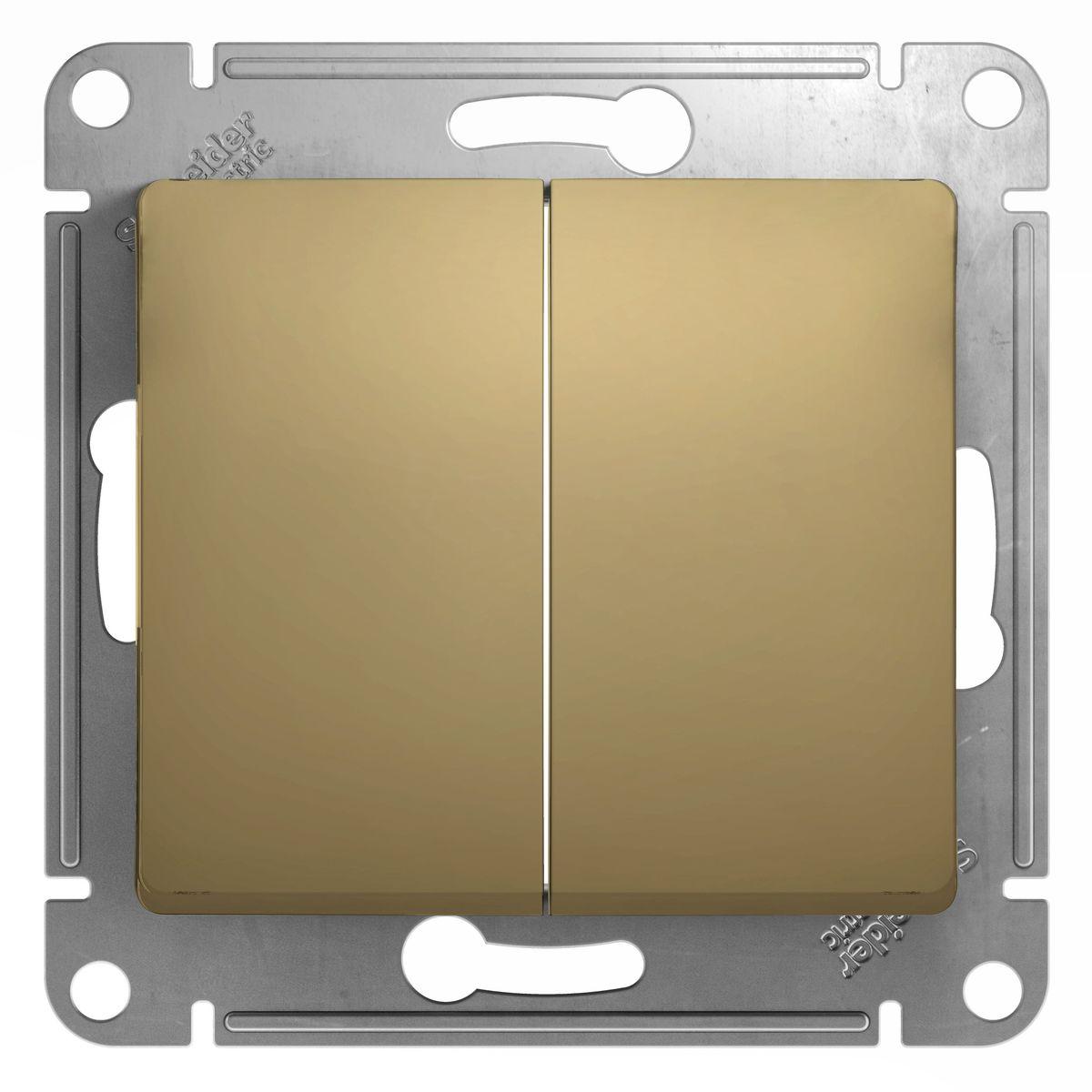 Выключатель Schneider Electric Glossa, двойной, цвет: титанGSL000451Двойной выключатель Schneider Electric Glossa предназначен для скрытой установки. Изделие выполнено из прочного пластика и стали. Выключатель имеет специальные фиксаторы, которые не дают ему смещаться как при монтаже, так и в процессе эксплуатации. Винтовые зажимы кабеля обеспечивают надежную установку к электросети с помощью отвертки. Такой выключатель станет удачным решением для дома и дачи.