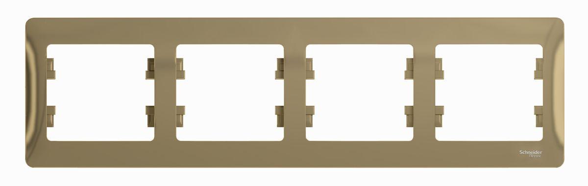 Рамка для встраиваемой розетки Schneider Electric Glossa, на 4 поста, горизонтальный монтаж, цвет: титановыйGSL000404Рамка Schneider Electric Glossa выполнена из пластика и используется для окантовки встраиваемой розетки. Монтаж изделия горизонтальный. Рамка отвечает основным требованиям безопасности и удобства монтажа. Современный дизайн и элегантная цветовая гамма подойдут к любому интерьеру. Размер рамки: 29,5 х 8,5 х 1 см.