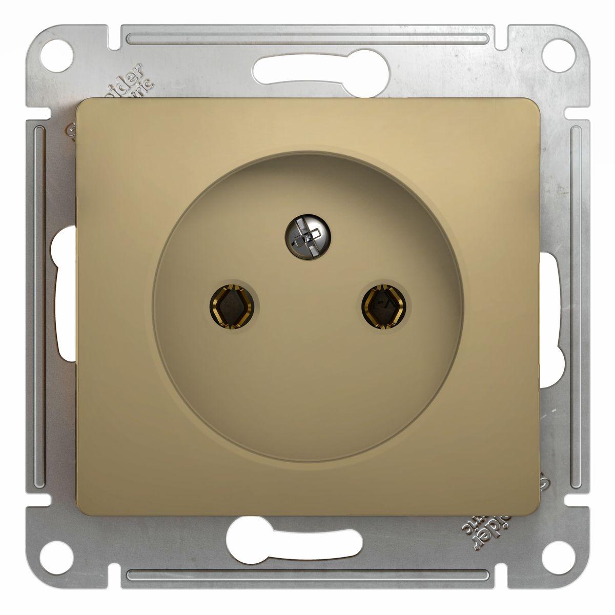 Розетка одинарная Schneider Electric Glossa, цвет: титанGSL000441Одинарная розетка Schneider Electric Glossa без заземляющего контакта, скрытой установки, без шторок, имеет винтовые клеммы. Легкая установка. Тип розетки С (евророзетка).