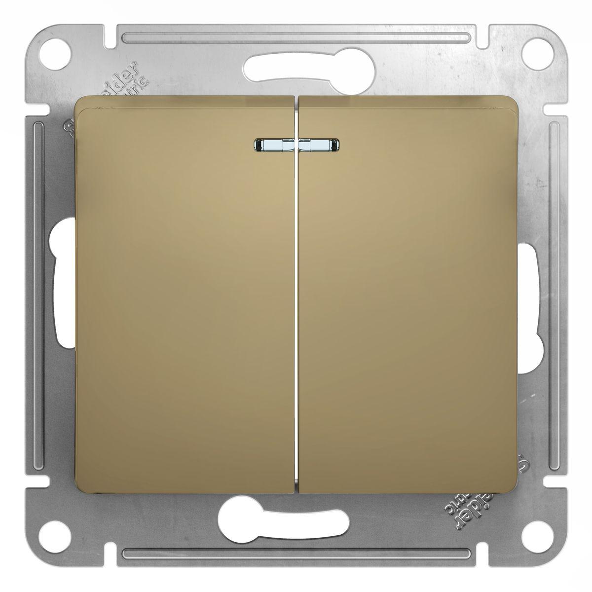 Schneider Electric GLOSSA Выключатель 2 клав. с подсв., 10AX-250В, титан (1)GSL000453