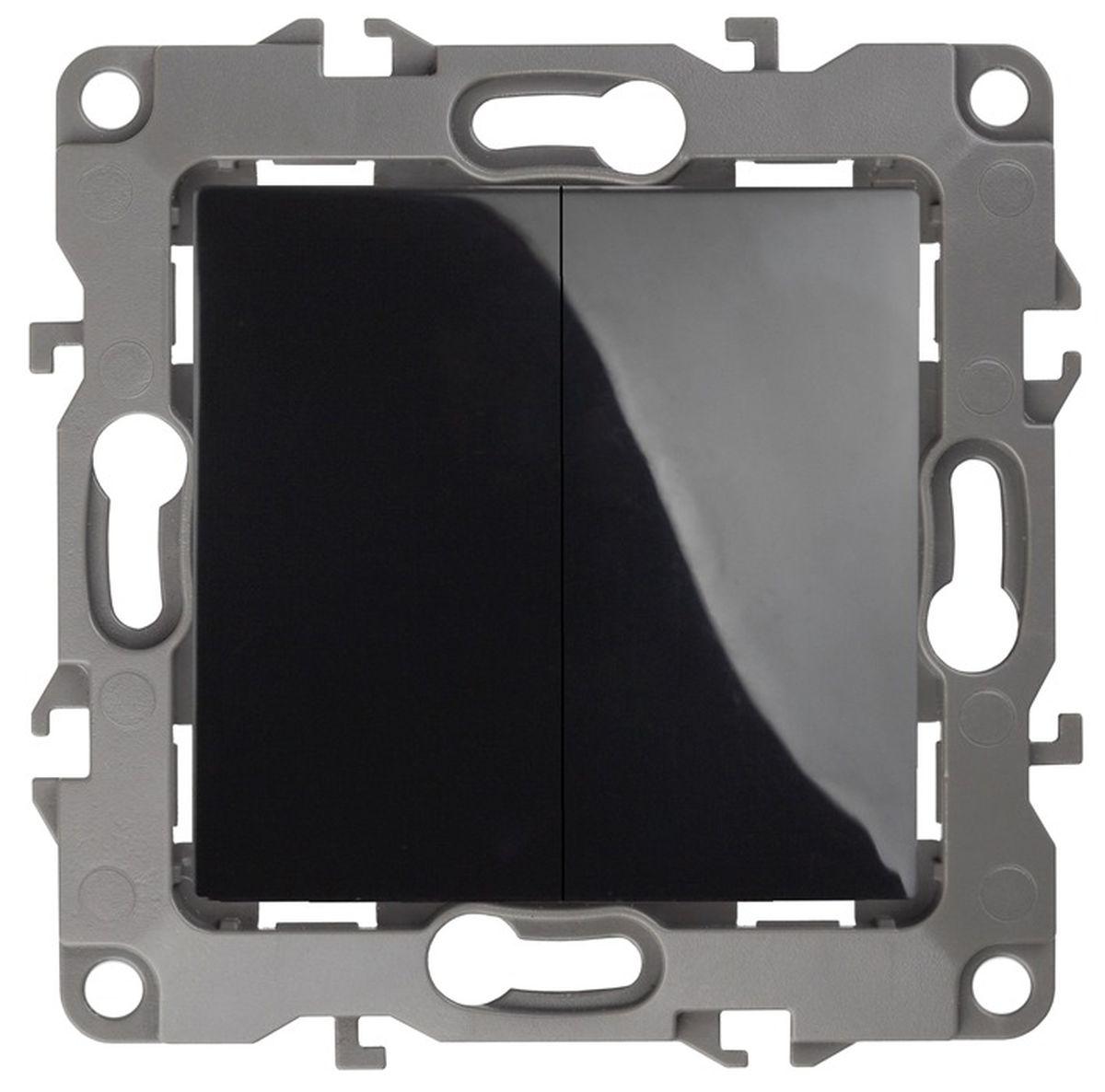Выключатель ЭРА двойной, 10АХ-250В, Эра12, черный12-1104-06Автоматические зажимы. Такие зажимы кабеля обеспечивают быстрый и надежный монтаж изделия к электросети без отвертки и не требуют обслуживания в отличие от винтовых зажимов.
