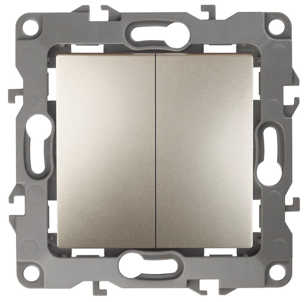 Выключатель ЭРА, двойной, цвет: шампань, серый. 12-100412-1004-04Двойной выключатель ЭРА выполнен из прочного пластика, контакты бронзовые. Изделие просто в установке, надежно в эксплуатации. Выключатель имеет специальные фиксаторы, которые не дают ему смещаться как при монтаже, так и в процессе эксплуатации. Автоматические зажимы кабеля обеспечивают быстрый и надежный монтаж изделия к электросети без отвертки и не требуют обслуживания в отличие от винтовых зажимов. УВАЖАЕМЫЕ КЛИЕНТЫ! Обращаем ваше внимание на тот факт, что монтажные лапки в комплект не входят.