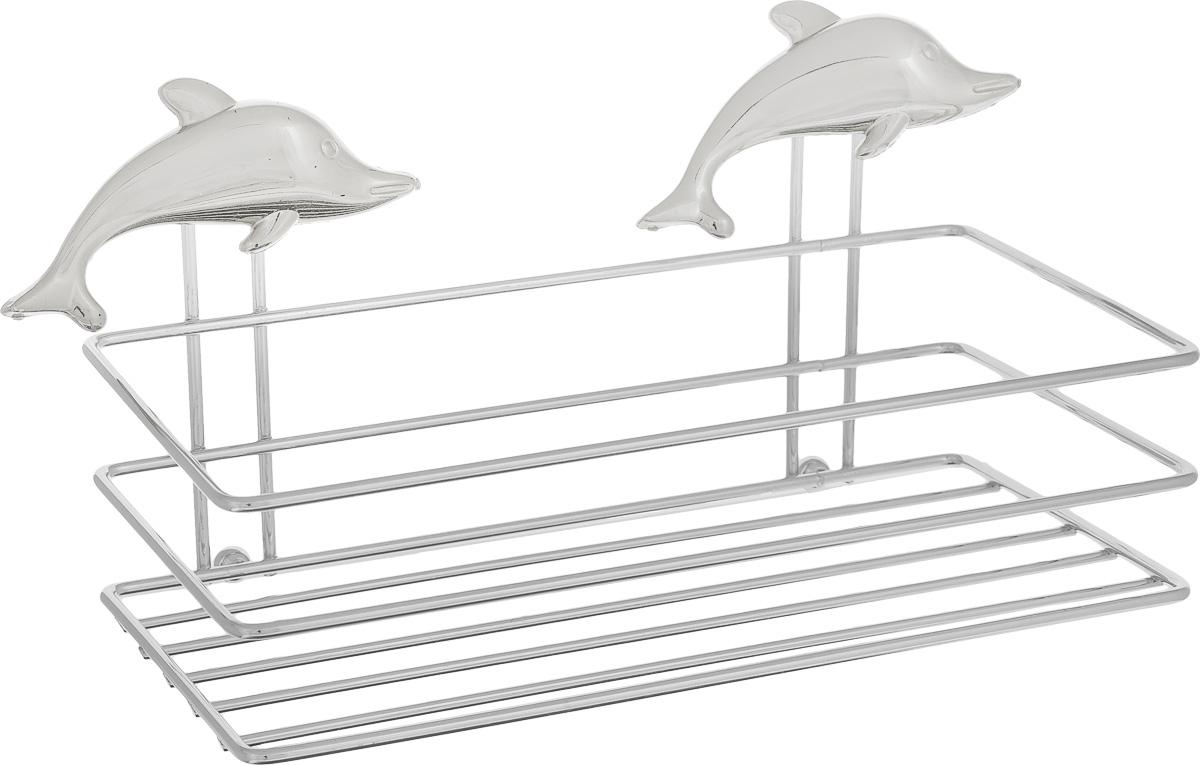 Полка для мочалки Fresh Code Море. Дельфин, на присоске, цвет: серебристый, 20 х 10 х 10 см56446_Серебристый дельфинПолка для мочалки Fresh Code Море. Дельфин выполнена из хромированной стали и украшена фигуркой дельфина из пластика. Изделие крепится к стене при помощи двух вакуумных присосок. Полка поможет создать настроение вашей ванной комнаты. Подходит для всех типов гладких поверхностей.