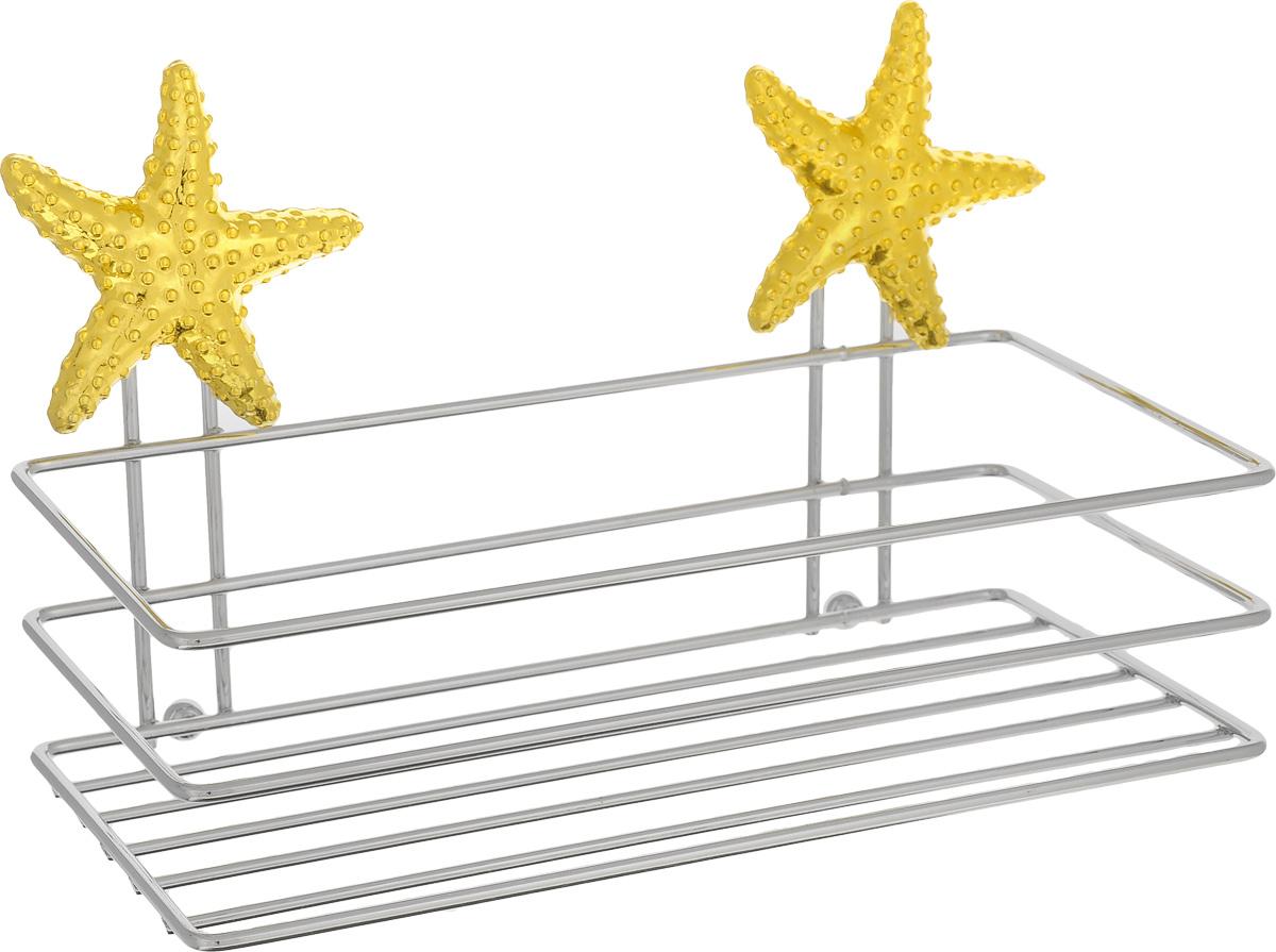 Полка для мочалки Fresh Code Море. Звезда, на присоске, цвет: золотистый, 20 х 10 х 10 см56446_Золотая звездаПолка для мочалки Fresh Code Море. Звезда выполнена из хромированной стали и украшена фигуркой морской звезды из пластика. Изделие крепится к стене при помощи двух вакуумных присосок. Полка поможет создать настроение вашей ванной комнаты. Подходит для всех типов гладких поверхностей.