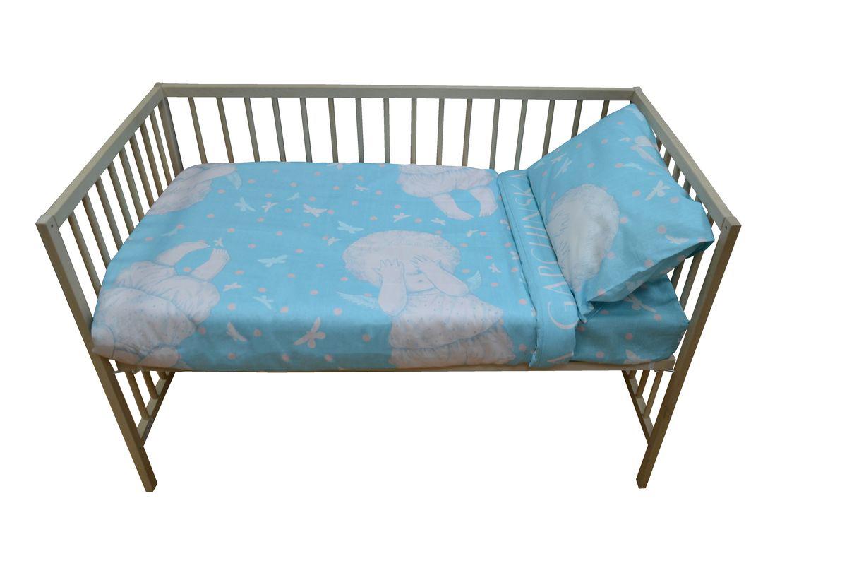 Коллекция Комплект детского постельного белья Бабочки в моей голове простыня на резинке цвет голубой