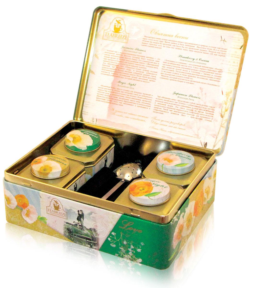 Teabreeze Объятия весны чай ароматизированный в подарочной шкатулке, 200 г4620009892008Чайная шкатулка Объятия весны включает в себя несколько видов чая. Чай Земляника со сливками 50 г. Земляника со сливками - это отличный чайный микс, обладающий незабываемым вкусом лета. Смесь черного байхового чая с листьями и плодами земляники рождает непередаваемые ощущения свежести лесной ягоды в сочетании с мягким и сладким вкусом сливок. Эта великолепная вкусовая консистенция оставляет на языке стойкое и очень приятное послевкусие, напоминающее подогретый солнцем летний лес. Напиток, который получается из ароматной смеси Земляника со сливками приятно бодрит и освежает. Чай Волшебная ночь 50 г. Волшебная ночь просто создана для вечерних чаепитий и долгих разговоров. Основу чая составляет смесь из цейлонского черного чая и китайского зеленого чая Сенча. К ним добавлены лепестки розы и подсолнечника, плоды шиповника, ароматные кусочки папайи, а также натуральные масла дыни, земляники, абрикоса и душистой смородины. Бархатный вкус и...