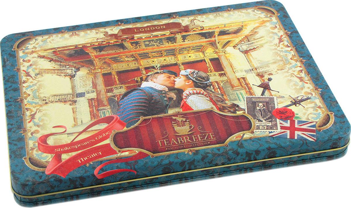 Teabreeze Театр Шекспира чай ароматизированный в подарочной шкатулке, 300 г4620009893906Подарочный чайный набор в шкатулке Teabreeze Театр Шекспира. В состав набора входит: Чай Эрл Грей: Английская традиция ароматизировать чай бергамотом насчитывает, без малого, вот уже 300 лет. Именно тогда появился Earl Grey - чайный напиток с запахом цитрусовых, который давно уже стал классикой не только в дневном чаепитии Великобритании, но и полюбился людям во многих странах. Его вкус напоминает чай с лимоном, однако он значительно мягче, в нем совсем не ощущается кислоты. Наоборот, напиток из пропитанного маслом бергамота чайного листа оставляет на языке пряный и мягкий след. Earl Grey изготовлен из чайного листа высшего сорта с добавлением натурального масла бергамота и замечательно подходит для любого чаепития. Чай Королевский Цейлон: Этот чай пришел к нам c высокогорий острова Цейлон (Шри-Ланка). Его характерный, слегка вяжущий вкус имеет ярко выраженный медовый оттенок. В богатой коллекции черных чаев он...
