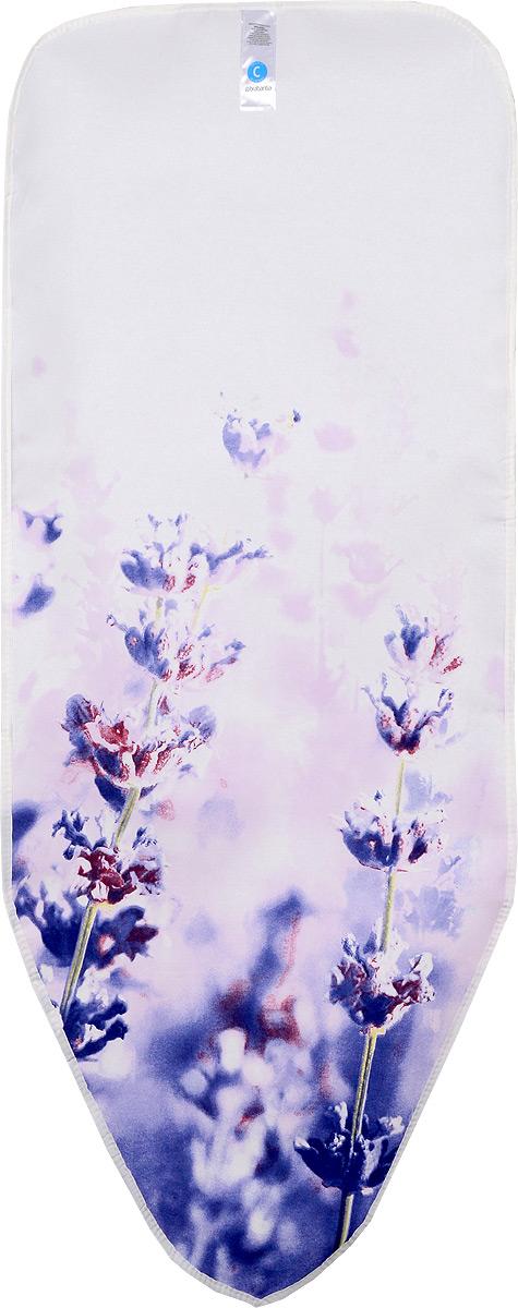 Чехол для гладильной доски Brabantia Perfect Fit, цвет: сиреневый, белый, 124 х 45 см191480_сиреневые цветыЧехол для гладильной доски Brabantia Perfect Fit, одна сторона которого выполнена из хлопка, другая - из поролона, предназначен для защиты или замены изношенного покрытия гладильной доски. Чехол снабжен стягивающим шнуром, при помощи которого вы легко отрегулируете оптимальное натяжение чехла и зафиксируете его на рабочей поверхности гладильной доски. В комплекте имеются ключ для натяжения нити и резинка с крючками для лучшей фиксации чехла. Этот качественный чехол обеспечит вам легкое глажение.