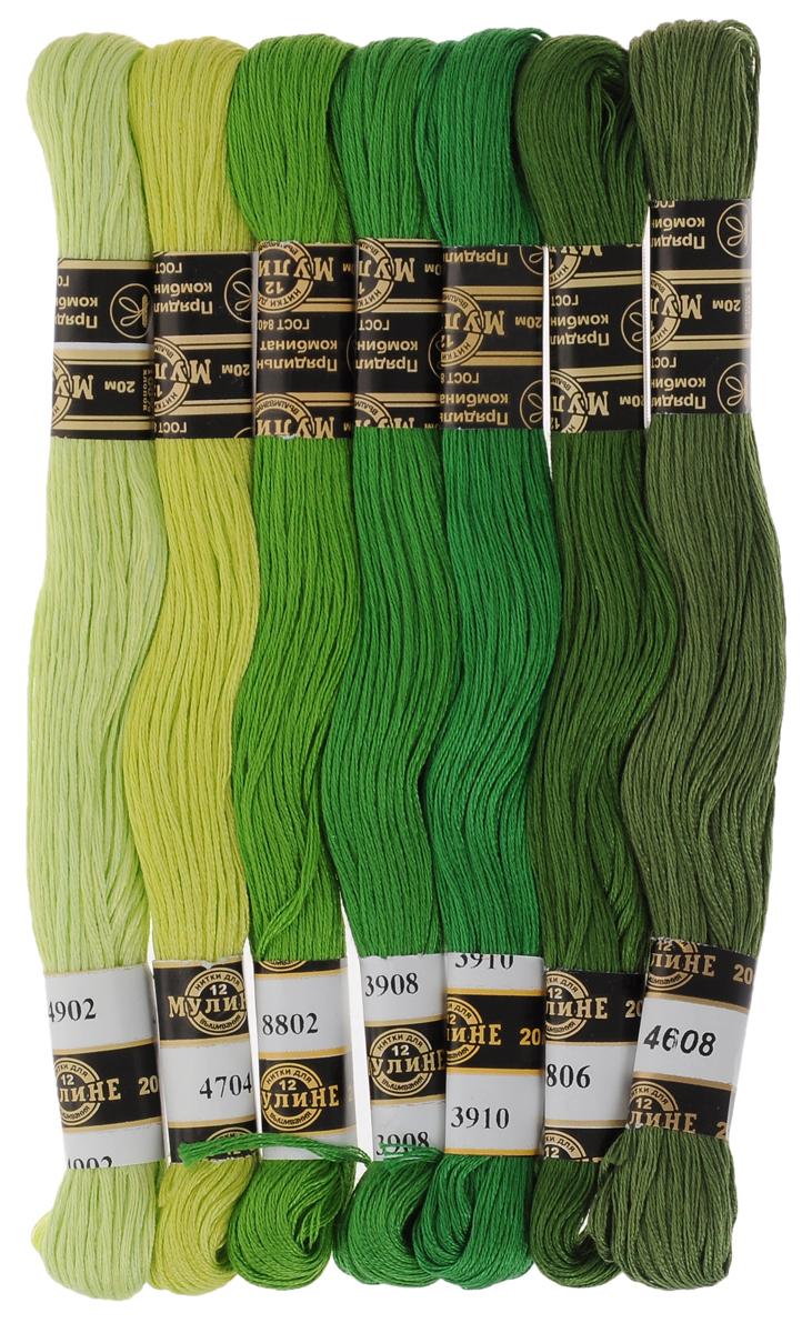 Набор ниток мулине Цветик-семицветик, хлопчатобумажные, цвет: зеленый лепесток, 20 м, 7 шт0132800549778Набор ниток мулине в 12 сложения Цветик-семицветик изготовлены из 100% хлопка. Такие нитки используются для вышивания. Нити крученые, матовые, мерсеризованные. Устойчивость окраски - особо прочная. В набор входит 7 мотков, разного оттенка. С их помощью вы сможете вышить своими руками необычные и красивые вещи.