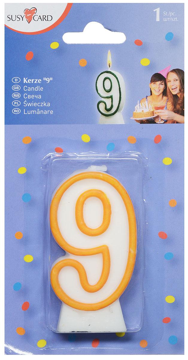 Susy Card Свеча-цифра для торта 9 лет цвет желтый11142650_желтыйСвеча-цифра для торта Susy Card выполнена в форме цифры 9 из белого парафина с желтым контуром по краям. Свеча-цифра создает неповторимую атмосферу праздника и прекрасно вписывается в любой интерьер. Свеча для торта - отличный способ порадовать любого человека.
