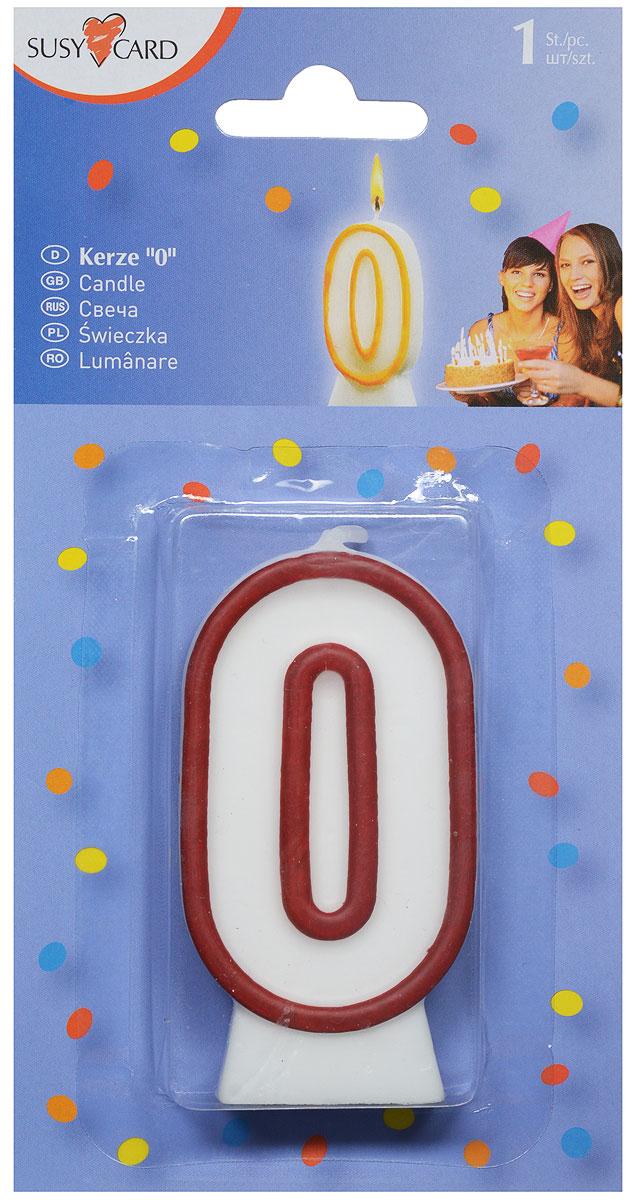 Susy Card Свеча-цифра для торта 0 лет цвет красный