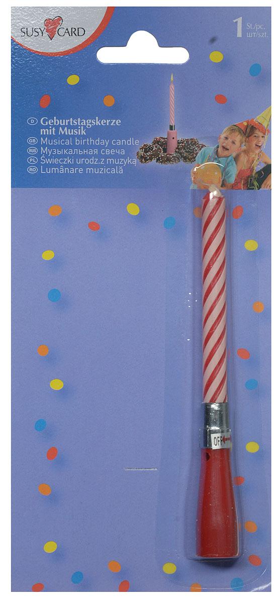 Susy Card Свеча для торта музыкальная Happy Birthday цвет красный11367091_красныйОригинальная витая свеча Happy Birthday в музыкальном подсвечнике эффектно украсит праздничный стол и создаст особенную волшебную атмосферу на вашем празднике. Свеча выполнена из качественного парафина. Музыка начинает играть после того, как повернули свечу в подсвечнике против часовой стрелки. Выключается музыка поворотом по часовой стрелке. Основание свечи можно использовать многократно. С этой свечой ваш праздник станет еще удивительнее и веселее.