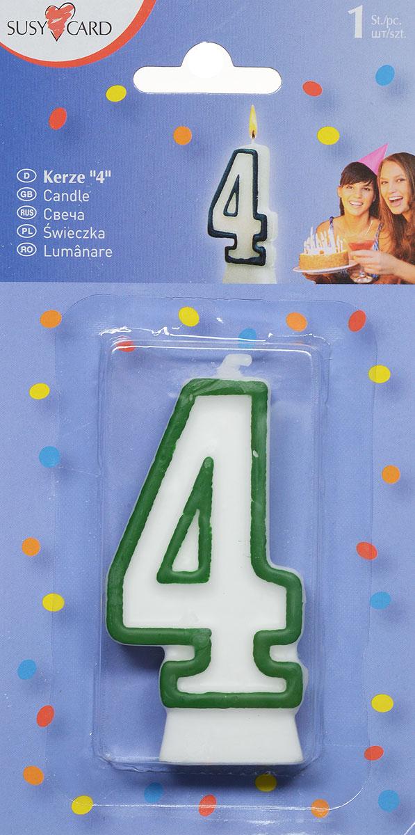 Susy Card Свеча-цифра для торта 4 года цвет зеленый11142353_зеленыйСвеча-цифра для торта Susy Card изготовлена из высококачественного парафина в виде цифры 4. Это отличное решение для декорирования торта к празднику. Ее можно комбинировать с другими цифрами. Изделие хорошо и долго горит. С этой свечой ваш праздник станет еще удивительнее и веселее.