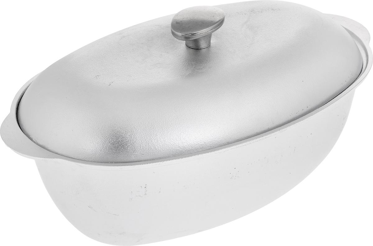 Гусятница Биол с крышкой, цвет: серебристый, 6 лГ0600Гусятница Биол, выполненная из высококачественного литого алюминия, оснащена крышкой. Благодаря особой конструкции корпуса в гусятнице замечательно готовить томленые блюда. Она равномерно прогревается и долго удерживает тепло. Приготовленное блюдо получается особенно вкусным, а в продуктах сохраняется больше полезных веществ. Гусятница не подвержена деформации, легко моется. Подходит для газовых, электрических и стеклокерамических плит. Не подходит для индукционных плит. Можно мыть в посудомоечной машине. Размер гусятницы (без учета крышки): 40,7 х 24,2 х 13,2 см. Объем: 6 л.