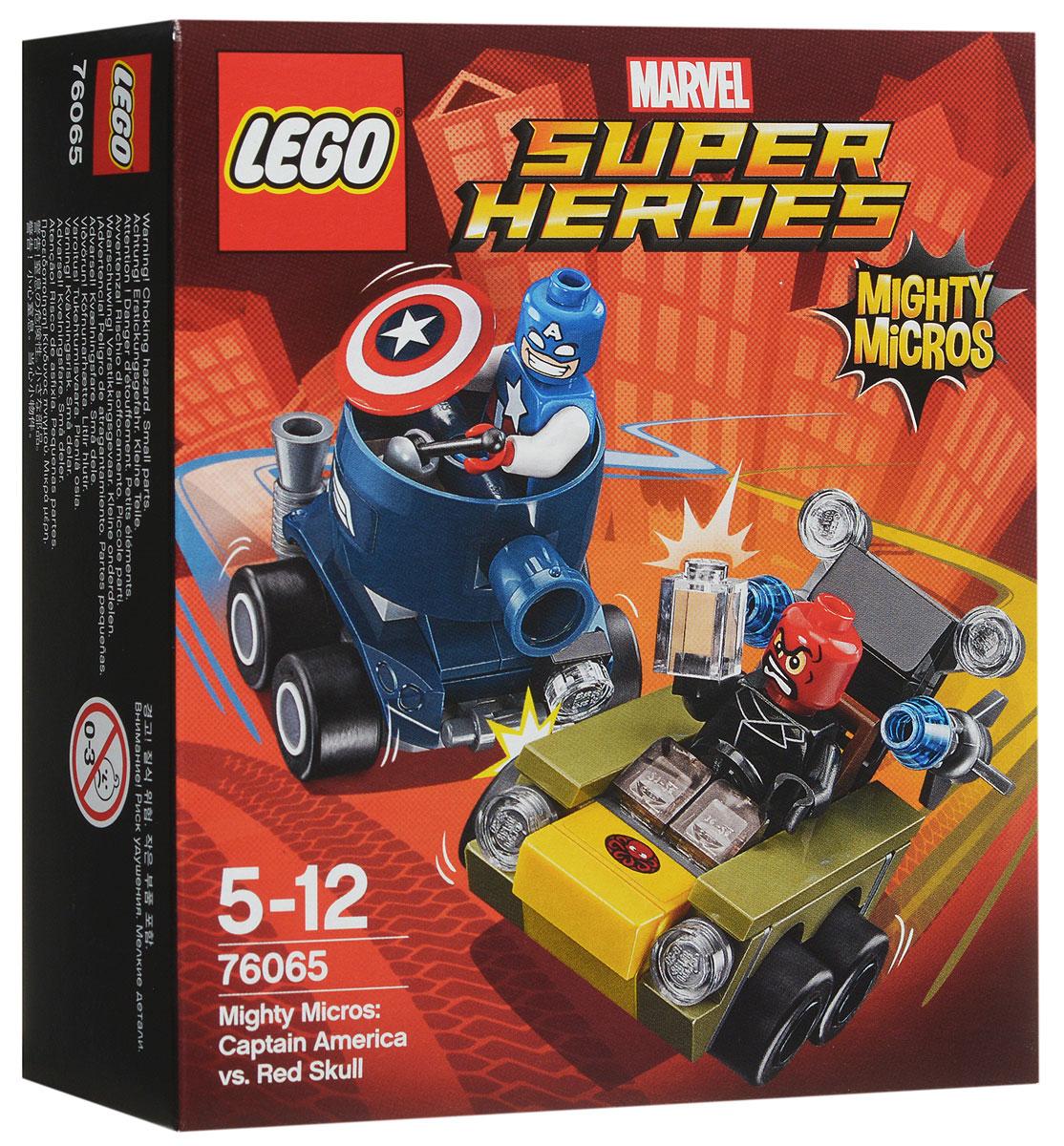 LEGO Super Heroes Конструктор Капитан Америка против Красного Черепа 7606576065Направьте танк Капитана Америка навстречу крутой машине Красного Черепа. Отразите ракеты Красного Черепа при помощи щита Капитана Америка. Кто победит в этой потрясающей схватке? Набор включает в себя 95 разноцветных пластиковых элементов. Конструктор - это один из самых увлекательных и веселых способов времяпрепровождения. Ребенок сможет часами играть с конструктором, придумывая различные ситуации и истории.