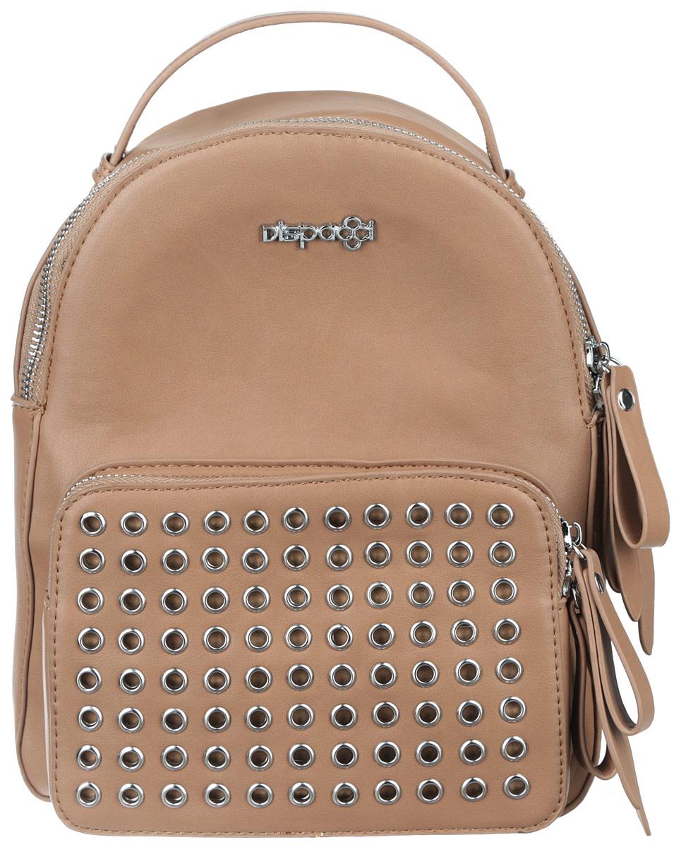 Рюкзак женский Dispacci, цвет: бежевый. Smo115181413Smo115181413Стильный женский рюкзак Dispacci выполнен из экокожи. Изделие имеет одно отделение, закрывающееся на застежку-молнию. Внутри находится прорезной карман на застежке-молнии и два открытых накладных кармана. Снаружи, на передней стенке располагается накладной карман на застежке-молнии, оформленный люверсами. Рюкзак оснащен двумя лямками, регулируемой длины, и удобной ручкой. Стильный рюкзак Dispacci прекрасно дополнит ваш образ.