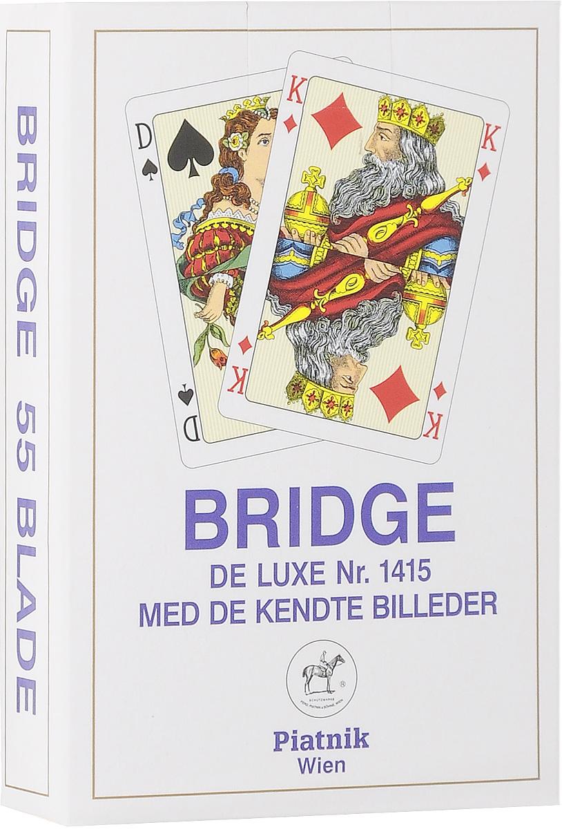 Профессиональные игральные карты Piatnik Бридж De Luxe, цвет: синий, 55 листов1415_синийКарты Piatnik Бридж De Luxe подходят для профессиональных игроков в покер и другие карточные игры, так как имеют очень гладкую поверхность, высококачественное пластиковое покрытие и стандартный покерный размер. Размер карты: 6,2 х 9,1 см.