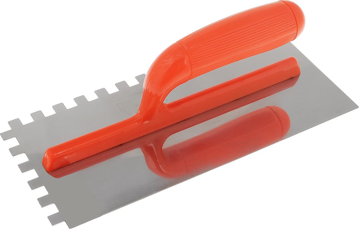 Гладилка зубчатая FIT, цвет: оранжевый, зуб 10 мм, 28 х 13 см5170_оранжевыйЗубчатая гладилка FIT изготовлена из нержавеющей стали, снабжена пластиковой ручкой. Изделие используется в штукатурно- отделочных работах для равномерного распределения растворов, смесей и клеев на большую по площади поверхность. Размер зубьев: 10 х 10 мм. Размеры рабочей поверхности: 28 х 13 см.