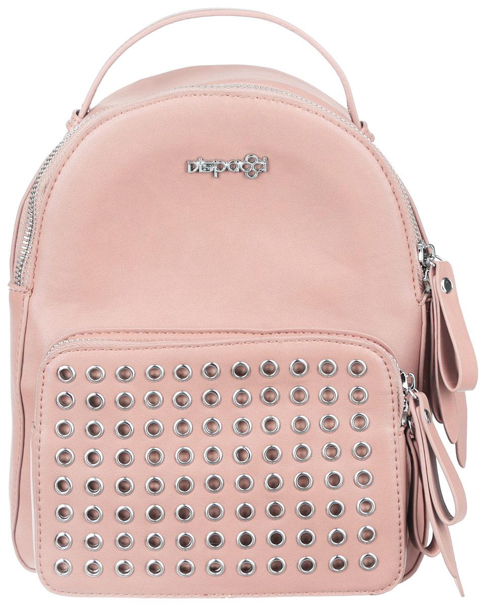Рюкзак женский Dispacci, цвет: светло-розовый. Smo115181413Smo115181413Стильный женский рюкзак Dispacci выполнен из экокожи. Изделие имеет одно отделение, закрывающееся на застежку-молнию. Внутри находится прорезной карман на застежке-молнии и два открытых накладных кармана. Снаружи, на передней стенке располагается накладной карман на застежке-молнии, оформленный люверсами. Рюкзак оснащен двумя лямками, регулируемой длины, и удобной ручкой. Стильный рюкзак Dispacci прекрасно дополнит ваш образ.