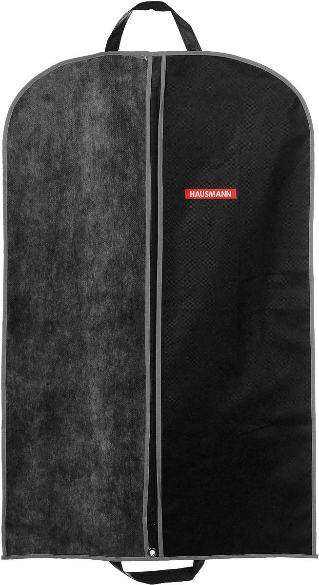 Чехол для одежды Hausmann, подвесной, с прозрачной вставкой, цвет: черный, 60 х 100 смHM-701002AGПодвесной чехол для одежды Hausmann на застежке-молнии выполнен из высококачественного нетканого материала. Чехол снабжен прозрачной вставкой из ПВХ, что позволяет легко просматривать содержимое. Изделие подходит для длительного хранения вещей. Чехол обеспечит вашей одежде надежную защиту от влажности, повреждений и грязи при транспортировке, от запыления при хранении и проникновения моли. Чехол обладает водоотталкивающими свойствами, а также позволяет воздуху свободно поступать внутрь вещей, обеспечивая их кондиционирование. Это особенно важно при хранении кожаных и меховых изделий. Чехол для одежды Hausmann создаст уютную атмосферу в гардеробе. Лаконичный дизайн придется по вкусу ценительницам эстетичного хранения и сделают вашу гардеробную изысканной и невероятно стильной. Размер чехла (в собранном виде): 60 х 100 см.
