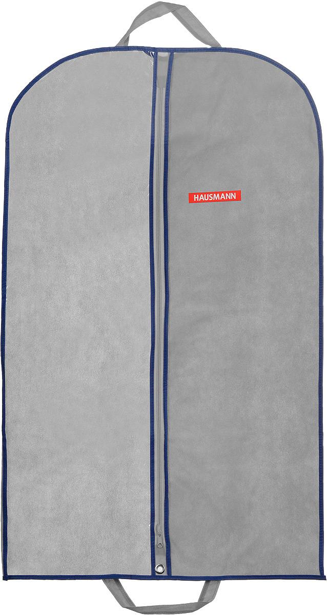 Чехол для одежды Hausmann, подвесной, с прозрачной вставкой, цвет: серый, 60 х 100 смHM-701002GNПодвесной чехол для одежды Hausmann на застежке-молнии выполнен из высококачественного нетканого материала. Чехол снабжен прозрачной вставкой из ПВХ, что позволяет легко просматривать содержимое. Изделие подходит для длительного хранения вещей. Чехол обеспечит вашей одежде надежную защиту от влажности, повреждений и грязи при транспортировке, от запыления при хранении и проникновения моли. Чехол обладает водоотталкивающими свойствами, а также позволяет воздуху свободно поступать внутрь вещей, обеспечивая их кондиционирование. Это особенно важно при хранении кожаных и меховых изделий. Чехол для одежды Hausmann создаст уютную атмосферу в гардеробе. Лаконичный дизайн придется по вкусу ценительницам эстетичного хранения и сделают вашу гардеробную изысканной и невероятно стильной. Размер чехла (в собранном виде): 60 х 100 см.