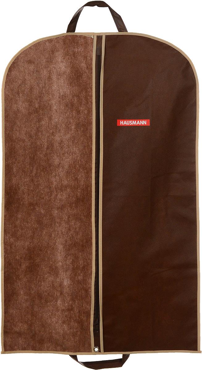 Чехол для одежды Hausmann, подвесной, с прозрачной вставкой, цвет: коричневый, 60 х 100 смHM-701002CBПодвесной чехол для одежды Hausmann на застежке-молнии выполнен из высококачественного нетканого материала. Чехол снабжен прозрачной вставкой из ПВХ, что позволяет легко просматривать содержимое. Изделие подходит для длительного хранения вещей. Чехол обеспечит вашей одежде надежную защиту от влажности, повреждений и грязи при транспортировке, от запыления при хранении и проникновения моли. Чехол обладает водоотталкивающими свойствами, а также позволяет воздуху свободно поступать внутрь вещей, обеспечивая их кондиционирование. Это особенно важно при хранении кожаных и меховых изделий. Чехол для одежды Hausmann создаст уютную атмосферу в гардеробе. Лаконичный дизайн придется по вкусу ценительницам эстетичного хранения и сделают вашу гардеробную изысканной и невероятно стильной. Размер чехла (в собранном виде): 60 х 100 см.
