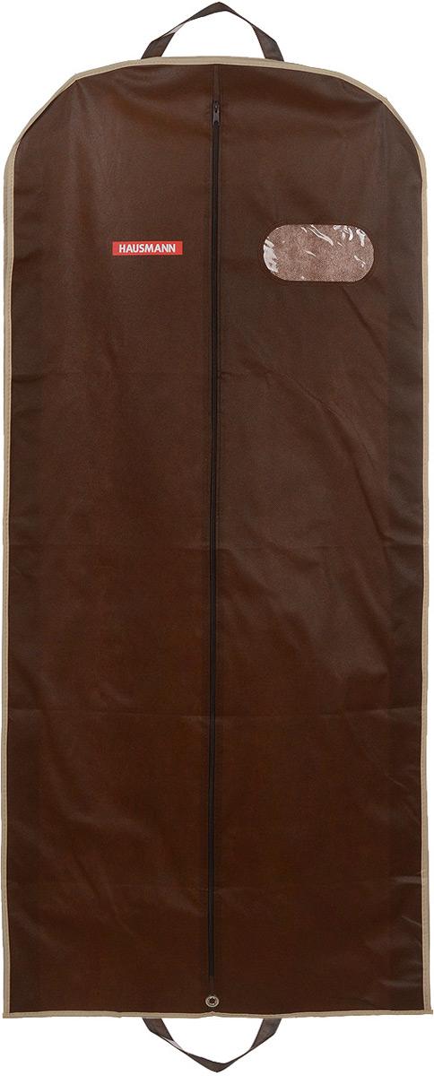 Чехол для одежды Hausmann, подвесной, с прозрачной вставкой, цвет: коричневый, 60 х 100 х 10 смHM-701403CBПодвесной чехол для одежды Hausmann на застежке-молнии выполнен из высококачественного нетканого материала. Чехол снабжен прозрачной вставкой из ПВХ, что позволяет легко просматривать содержимое. Изделие подходит для длительного хранения вещей. Чехол обеспечит вашей одежде надежную защиту от влажности, повреждений и грязи при транспортировке, от запыления при хранении и проникновения моли. Чехол обладает водоотталкивающими свойствами, а также позволяет воздуху свободно поступать внутрь вещей, обеспечивая их кондиционирование. Это особенно важно при хранении кожаных и меховых изделий. Чехол для одежды Hausmann создаст уютную атмосферу в гардеробе. Лаконичный дизайн придется по вкусу ценительницам эстетичного хранения и сделают вашу гардеробную изысканной и невероятно стильной. Размер чехла (в собранном виде): 60 х 100 х 10 см.