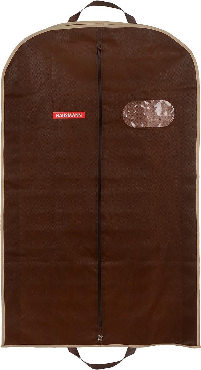 Чехол для одежды Hausmann, подвесной, с прозрачной вставкой, цвет: коричневый, 60 х 100 х 10 смHM-701003CBПодвесной чехол для одежды Hausmann на застежке-молнии выполнен из высококачественного нетканого материала. Чехол снабжен прозрачной вставкой из ПВХ, что позволяет легко просматривать содержимое. Изделие подходит для длительного хранения вещей. Чехол обеспечит вашей одежде надежную защиту от влажности, повреждений и грязи при транспортировке, от запыления при хранении и проникновения моли. Чехол обладает водоотталкивающими свойствами, а также позволяет воздуху свободно поступать внутрь вещей, обеспечивая их кондиционирование. Это особенно важно при хранении кожаных и меховых изделий. Чехол для одежды Hausmann создаст уютную атмосферу в гардеробе. Лаконичный дизайн придется по вкусу ценительницам эстетичного хранения и сделают вашу гардеробную изысканной и невероятно стильной. Размер чехла (в собранном виде): 60 х 100 х 10 см.