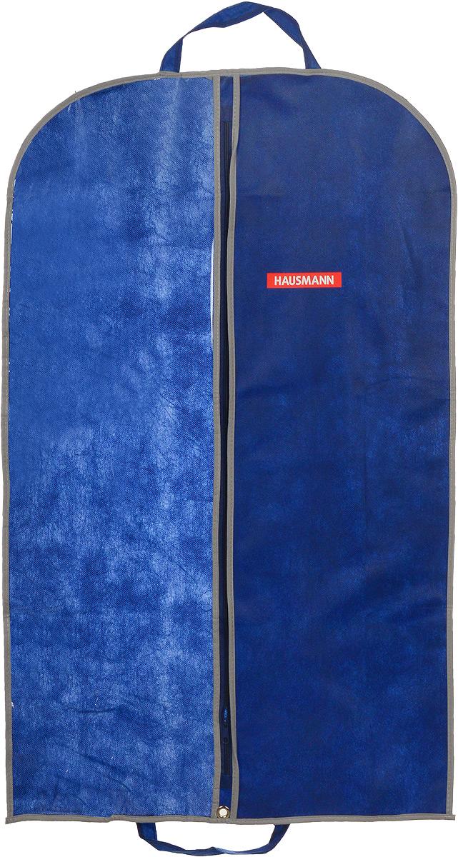 Чехол для одежды Hausmann, подвесной, с прозрачной вставкой, цвет: синий, 60 х 100 смHM-701002NGПодвесной чехол для одежды Hausmann на застежке-молнии выполнен из высококачественного нетканого материала. Чехол снабжен прозрачной вставкой из ПВХ, что позволяет легко просматривать содержимое. Изделие подходит для длительного хранения вещей. Чехол обеспечит вашей одежде надежную защиту от влажности, повреждений и грязи при транспортировке, от запыления при хранении и проникновения моли. Чехол обладает водоотталкивающими свойствами, а также позволяет воздуху свободно поступать внутрь вещей, обеспечивая их кондиционирование. Это особенно важно при хранении кожаных и меховых изделий. Чехол для одежды Hausmann создаст уютную атмосферу в гардеробе. Лаконичный дизайн придется по вкусу ценительницам эстетичного хранения и сделают вашу гардеробную изысканной и невероятно стильной. Размер чехла (в собранном виде): 60 х 100 см.