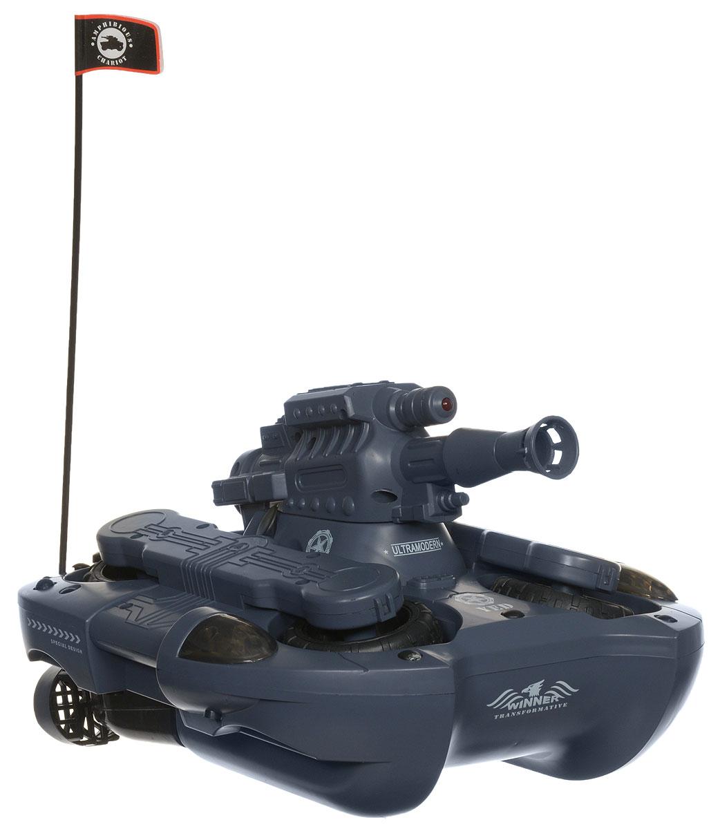 Bluesea Танк-амфибия на радиоуправлении цвет серый24883Радиоуправляемый Танк-амфибия, стреляющий шариками, обязательно привлечет внимание и взрослого, и ребенка и, несомненно, понравится любому мальчишке. Игрушка выполнена в виде танка, который нажатием кнопки превращается в лодку. Детализированный корпус модели изготовлен из пластика. Это уникальный в своем роде танк. Он не только ездит по земле, но он еще и способен плавать. Трансформация в лодку производится нажатием на одну кнопку. Благодаря приводу на каждое колесо и управлению по принципу гусеничного танка (левый рычаг отвечает за левые колеса, правый - за правые), амфибия способна развернуться на 360° на месте. И, конечно же, игрушка оснащена светодиодами, что создает эффектный внешний вид во время поездок в темноте. Важная особенность танка - полуавтоматическая стрельба пластиковыми мячами. Игрушка может перевозить напитки в банках (для этого у него есть специальные ячейки). Ваш ребенок часами будет играть с моделью, придумывая различные истории и устраивая...