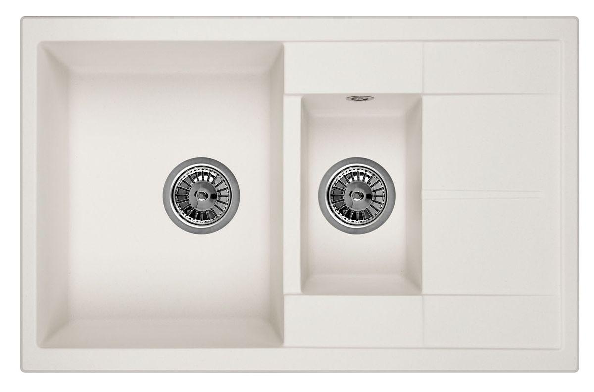 Мойка Weissgauff Quadro 775K Eco Granit, цвет: белый, 78,0 х 18,5 х 50,0 см183355Гранитные мойки Weissgauff Eco Granit – классическая коллекция моек, изготовленных из специально подобранных композитных материалов , содержащих оптимальное сочетание 80% каменной массы высокого качества и 20% связующих материалов. Оригинальный и функциональный дизайн - технология изготовления позволяет создавать любые цвета и формы, оптимальные для современных кухонь. Мойки Weissgauff легко подобрать к интерьеру любой кухни, для разных цветов и форм столешниц Влагостойкость - отталкивание влаги – одна из примечательных особенностей моек из искусственного камня за счет связующих композитных материалов, которые продлевают их срок службы и способствуют сохранению первоначального вида Термостойкость - подвергая мойки воздействию высоких температур, например, различными горячими жидкостями, будьте уверенны, что мойки Weissgauff – эталон стойкости и качества, так как они устойчивы к перепаду температур. Специальный состав моек Weisgauff избавляет от проблемы...