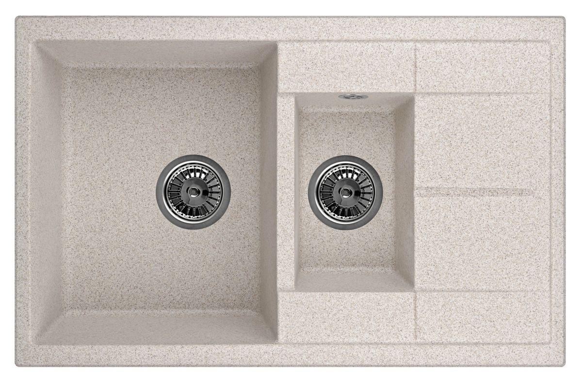 Мойка Weissgauff Quadro 775K Eco Granit, цвет: песочный, 78,0 х 18,5 х 50,0 см183357Гранитные мойки Weissgauff Eco Granit – классическая коллекция моек, изготовленных из специально подобранных композитных материалов , содержащих оптимальное сочетание 80% каменной массы высокого качества и 20% связующих материалов. Оригинальный и функциональный дизайн - технология изготовления позволяет создавать любые цвета и формы, оптимальные для современных кухонь. Мойки Weissgauff легко подобрать к интерьеру любой кухни, для разных цветов и форм столешниц Влагостойкость - отталкивание влаги – одна из примечательных особенностей моек из искусственного камня за счет связующих композитных материалов, которые продлевают их срок службы и способствуют сохранению первоначального вида Термостойкость - подвергая мойки воздействию высоких температур, например, различными горячими жидкостями, будьте уверенны, что мойки Weissgauff – эталон стойкости и качества, так как они устойчивы к перепаду температур. Специальный состав моек Weisgauff избавляет от проблемы...