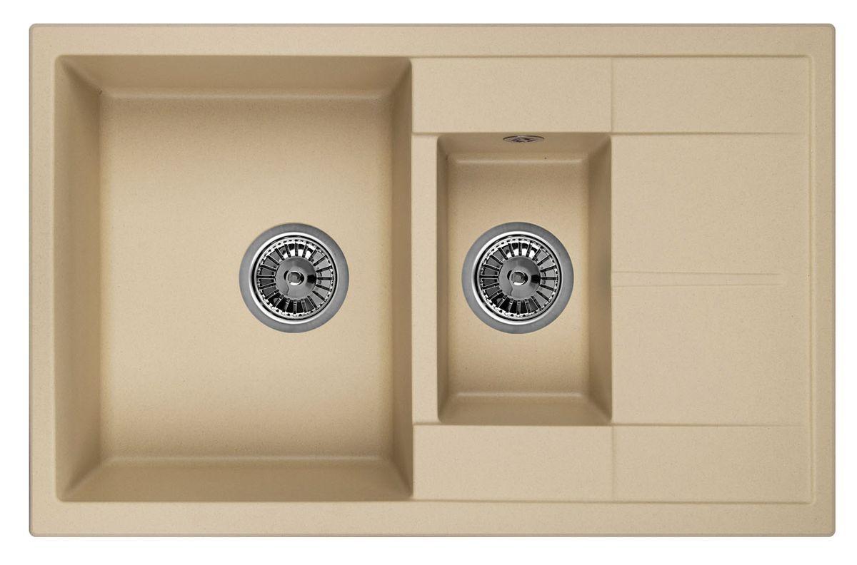 Мойка Weissgauff Quadro 775K Eco Granit, цвет: шампань, 78,0 х 18,5 х 50,0 см183356Гранитные мойки Weissgauff Eco Granit – классическая коллекция моек, изготовленных из специально подобранных композитных материалов , содержащих оптимальное сочетание 80% каменной массы высокого качества и 20% связующих материалов. Оригинальный и функциональный дизайн - технология изготовления позволяет создавать любые цвета и формы, оптимальные для современных кухонь. Мойки Weissgauff легко подобрать к интерьеру любой кухни, для разных цветов и форм столешниц Влагостойкость - отталкивание влаги – одна из примечательных особенностей моек из искусственного камня за счет связующих композитных материалов, которые продлевают их срок службы и способствуют сохранению первоначального вида Термостойкость - подвергая мойки воздействию высоких температур, например, различными горячими жидкостями, будьте уверенны, что мойки Weissgauff – эталон стойкости и качества, так как они устойчивы к перепаду температур. Специальный состав моек Weisgauff избавляет от проблемы...