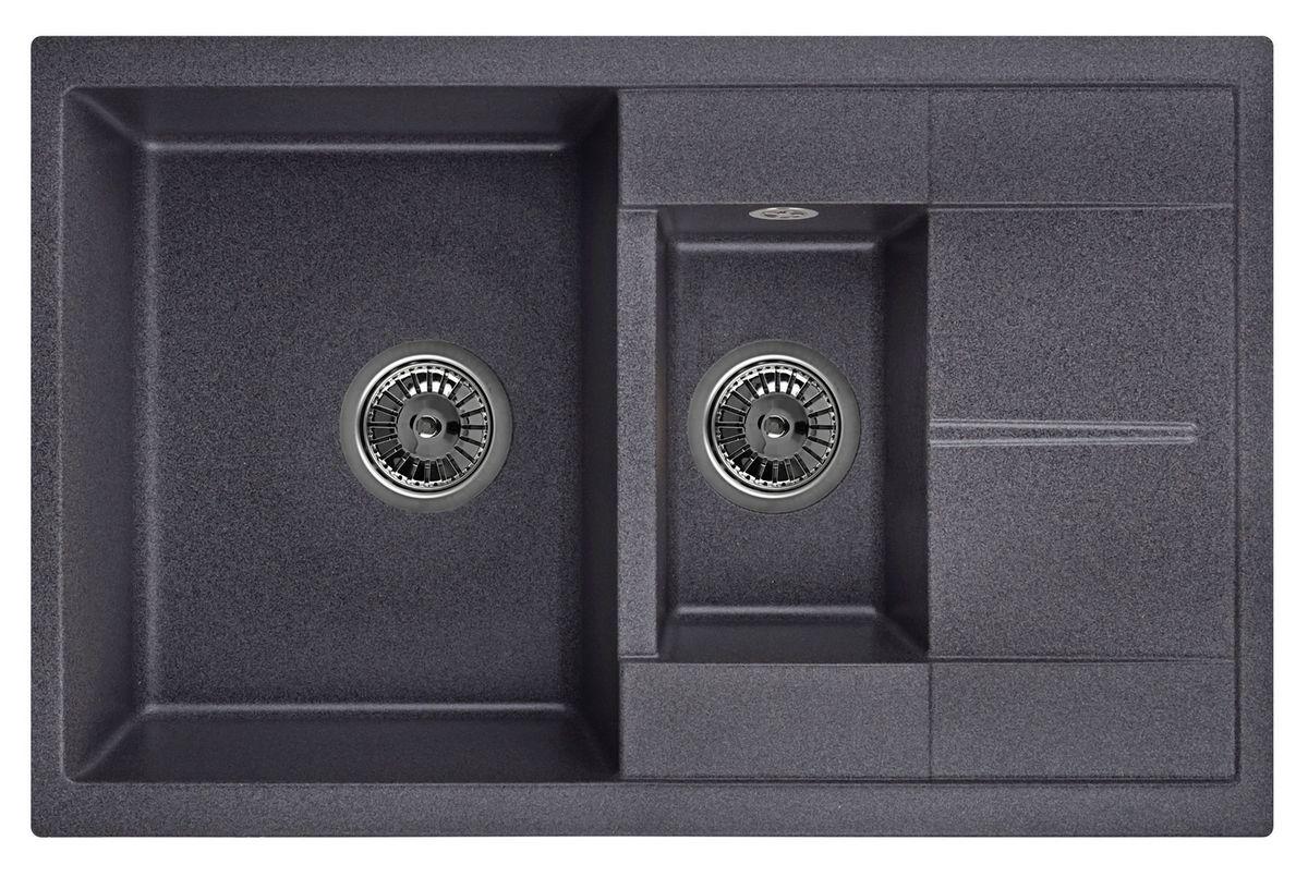 Мойка Weissgauff Quadro 775K Eco Granit, цвет: черный, 78,0 х 18,5 х 50,0 см267318Гранитные мойки Weissgauff Eco Granit – классическая коллекция моек, изготовленных из специально подобранных композитных материалов , содержащих оптимальное сочетание 80% каменной массы высокого качества и 20% связующих материалов. Оригинальный и функциональный дизайн - технология изготовления позволяет создавать любые цвета и формы, оптимальные для современных кухонь. Мойки Weissgauff легко подобрать к интерьеру любой кухни, для разных цветов и форм столешниц Влагостойкость - отталкивание влаги – одна из примечательных особенностей моек из искусственного камня за счет связующих композитных материалов, которые продлевают их срок службы и способствуют сохранению первоначального вида Термостойкость - подвергая мойки воздействию высоких температур, например, различными горячими жидкостями, будьте уверенны, что мойки Weissgauff – эталон стойкости и качества, так как они устойчивы к перепаду температур. Специальный состав моек Weisgauff избавляет от проблемы...