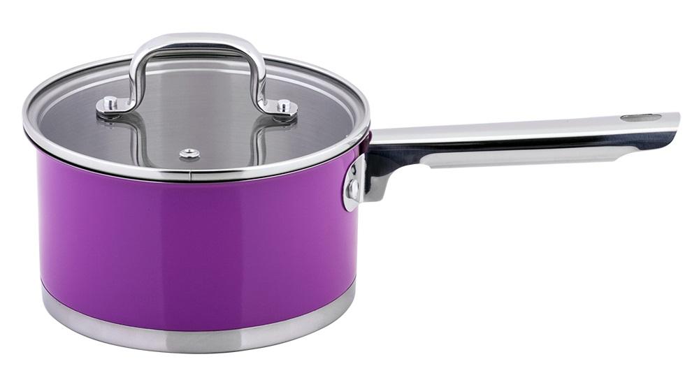 Ковш Esprado Colorido с крышкой, цвет: фиолетовый, серебристый, 1,6 лSOML16PE109Ковш Esprado Colorido, изготовленный из высококачественной нержавеющей стали с внешним цветным керамическим покрытием, имеет трехслойное теплоаккумулирующее дно. Внешнее покрытие не только эстетично, но и функционально: входящие в его состав частицы песка обеспечивают равномерное распределение жара и ускоряют процесс приготовления блюда. Внутри - зеркальная полировка с отметками литража для точного соблюдения рецепта. Особая конструкция дна способствует высокой теплопроводности и равномерному распределению тепла. Материал удерживает тепло по всей поверхности изделия, благодаря чему пища равномерно и быстро нагревается. Ковш оснащен удобной стальной ручкой. Крышка, выполненная из термостойкого стекла, позволит вам следить за процессом приготовления пищи. Крышка оснащена металлическим ободом и отверстием для выпуска пара. Ковш идеален для приготовления здоровой пищи с минимальным количеством жира, что обеспечивает снижение потери полезных...