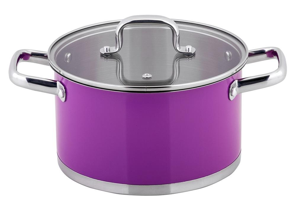 Кастрюля Esprado Colorido с крышкой, цвет: фиолетовый, серебристый, 6 лSOML24PE101Кастрюля Esprado Colorido, изготовленная из высококачественной нержавеющей стали с внешним цветным керамическим покрытием, имеет трехслойное теплоаккумулирующее дно. Внешнее покрытие не только эстетично, но и функционально: входящие в его состав частицы песка обеспечивают равномерное распределение жара и ускоряют процесс приготовления блюда. Внутри - зеркальная полировка с отметками литража для точного соблюдения рецепта. Особая конструкция дна способствует высокой теплопроводности и равномерному распределению тепла. Материал удерживает тепло по всей поверхности изделия, благодаря чему пища равномерно и быстро нагревается. Кастрюля оснащена двумя удобными стальными ручками. Крышка, выполненная из термостойкого стекла, позволит вам следить за процессом приготовления пищи. Крышка оснащена металлическим ободом и отверстием для выпуска пара. Кастрюля идеальна для приготовления здоровой пищи с минимальным количеством жира, что обеспечивает снижение...