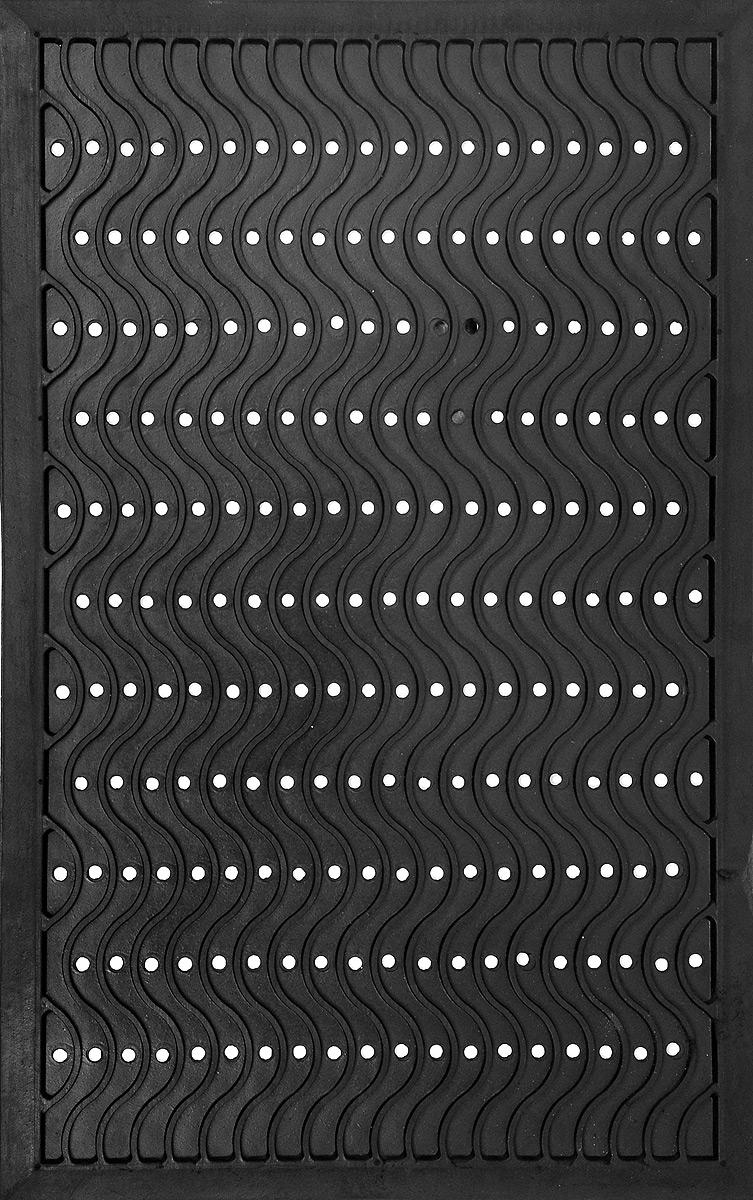 Коврик придверный SunStep Волна, резиновый, 80 х 50 см31-068Придверный коврик SunStep Волна, выполненный из резины, прост в обслуживании, прочный и устойчивый к различным погодным условиям. Его основа предотвращает скольжение по гладкой поверхности и обеспечивает надежную фиксацию. Такой коврик надежно защитит помещение от уличной пыли и грязи.