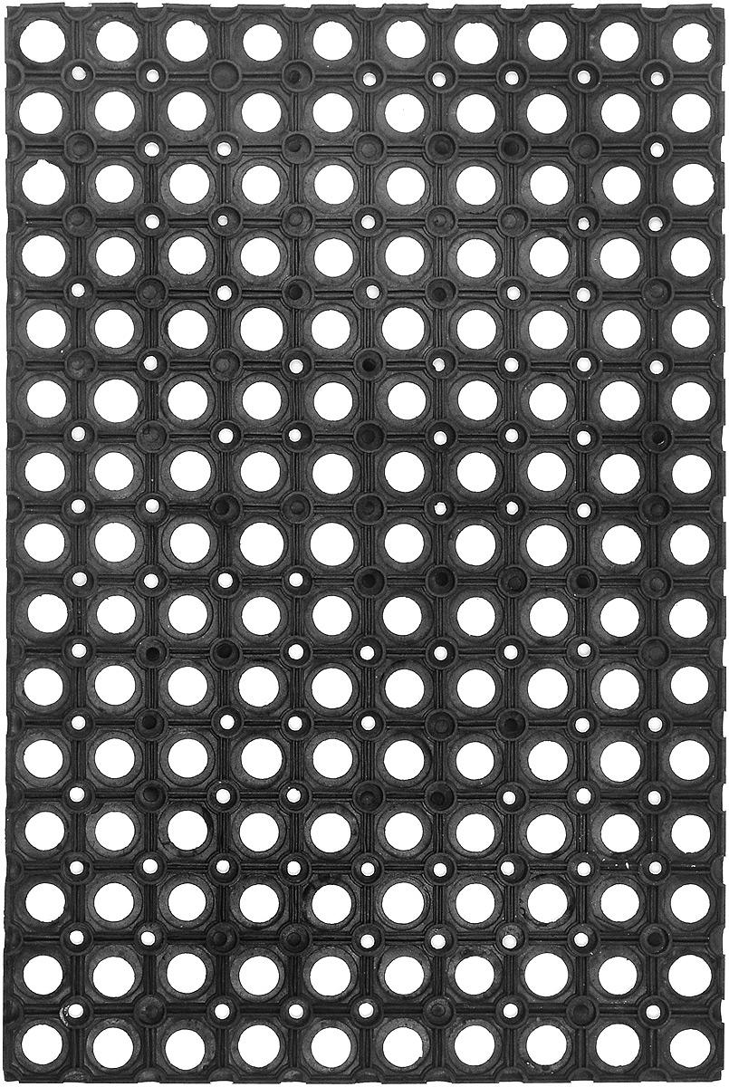 Коврик придверный SunStep, грязесборный, 60 х 40 см30-002Придверный коврик SunStep изготовлен из прочной и долговечной резины. Конструкция коврика имеет специальные ребра, которые помогают более эффективно удалять грязь с обуви, а отверстия в конструкции удаляют излишки воды. Придверный коврик SunStep надежно защитит помещение от уличной пыли и грязи.