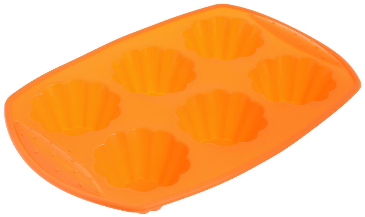 Форма для выпечки Calve, силиконовая, 6 ячеек. CL-4557CL-4557Форма для выпечки Calve изготовлена из высококачественного силикона. Стенки формы гнутся, что позволяет легко достать готовую выпечку и сохранить аккуратный внешний вид блюда. Форма имеет 6 ячеек. Изделия из силикона очень удобны в использовании: пища в них не пригорает и не прилипает к стенкам, форма легко моется. Приготовленное блюдо можно очень просто достать из формы, просто перевернув ее, при этом внешний вид блюда не нарушится. Изделие обладает эластичными свойствами: складывается без изломов, восстанавливает свою первоначальную форму. Порадуйте своих родных и близких любимой выпечкой в необычном исполнении. Подходит для приготовления в духовых шкафах и микроволновых печах без использования режима гриль при температуре до +230°C. Можно использовать в морозильных камерах при температуре до -40°. Можно мыть в посудомоечной машине. Средний размер ячейки: 7 х 7 х 4 см. Размер формы: 30 х 21 х 4 см.