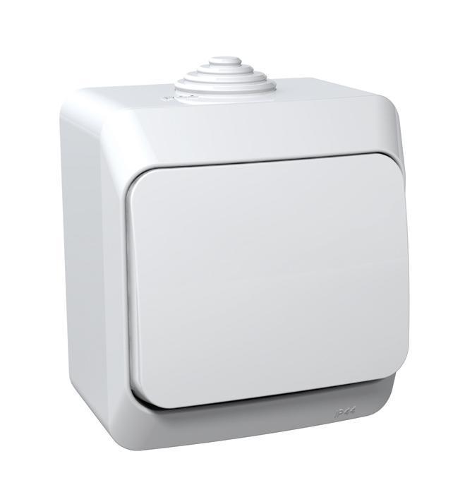 Выключатель Schneider Electric Этюд, цвет: белый. BA10-041BA10-041BВыключатель одноклавишный Schneider Electric Этюд используется для открытой установки. Удачное решение для дома и дачи. Изделие выполнено из композиции высококачественного пластика, специальное покрытие не позволяет пыли собираться на поверхности. Степень защиты от влаги IP44 позволяет устанавливать выключатель на улице или, например, в ванной. Функция выключателя: одноканальный. Тип контактов: 1 Н.О. Номинальный ток: 250 В. Диапазон мощности: 2300 Вт. Тип клемм: винтовые зажимы 2,5 мм2. Длина зачистки проводов: 11 мм. Степень защиты: IP44.