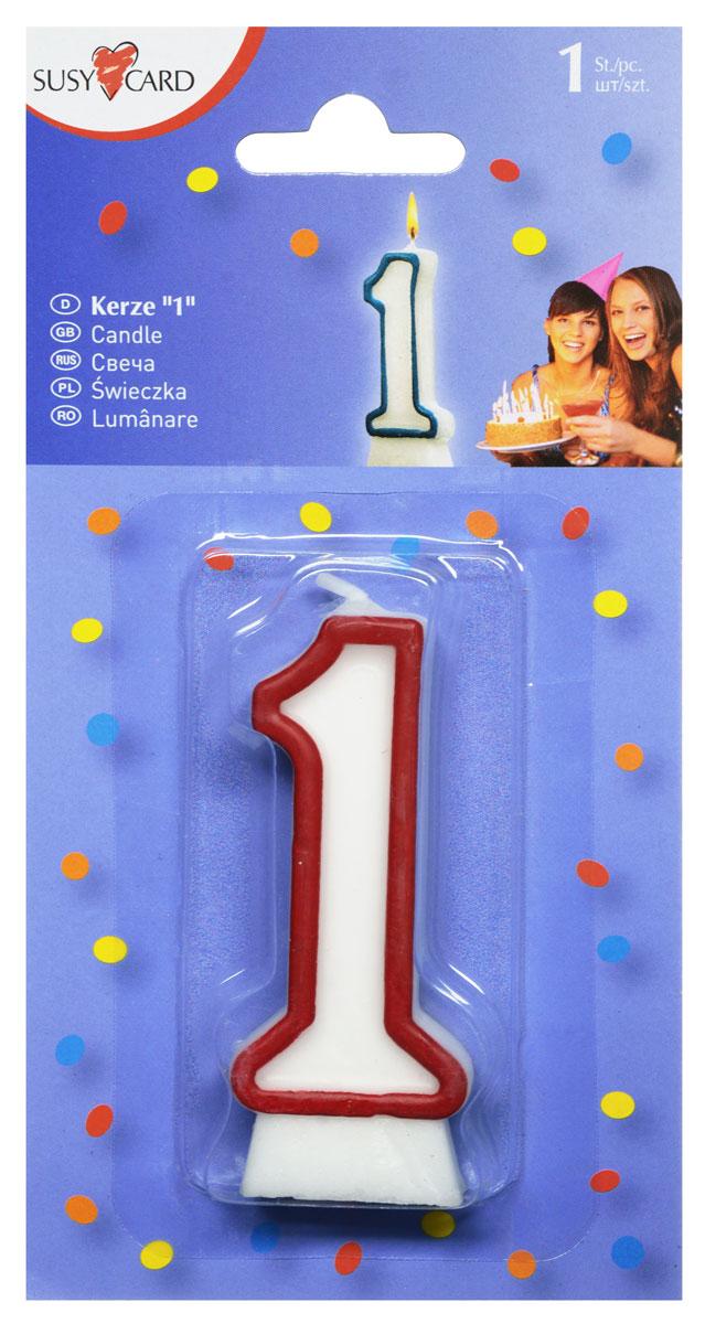 Susy Card Свеча-цифра для торта 1 год цвет красный11142320_красныйСвеча-цифра для торта Susy Card выполнена в форме цифры 1 из белого парафина с красным контуром по краям. Свеча-цифра создает неповторимую атмосферу праздника и прекрасно вписывается в любой интерьер. Свеча для торта - отличный способ порадовать ребенка в его День рождения.