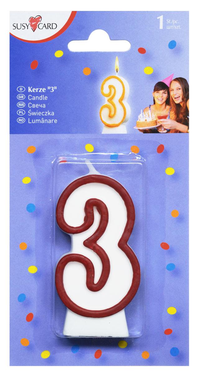 Susy Card Свеча-цифра для торта 3 года цвет красный11142346_красныйСвеча-цифра для торта Susy Card изготовлена из высококачественного парафина в виде цифры 3. Это отличное решение для декорирования торта к празднику. Ее можно комбинировать с другими цифрами. Изделие хорошо и долго горит. С этой свечой ваш праздник станет еще удивительнее и веселее.