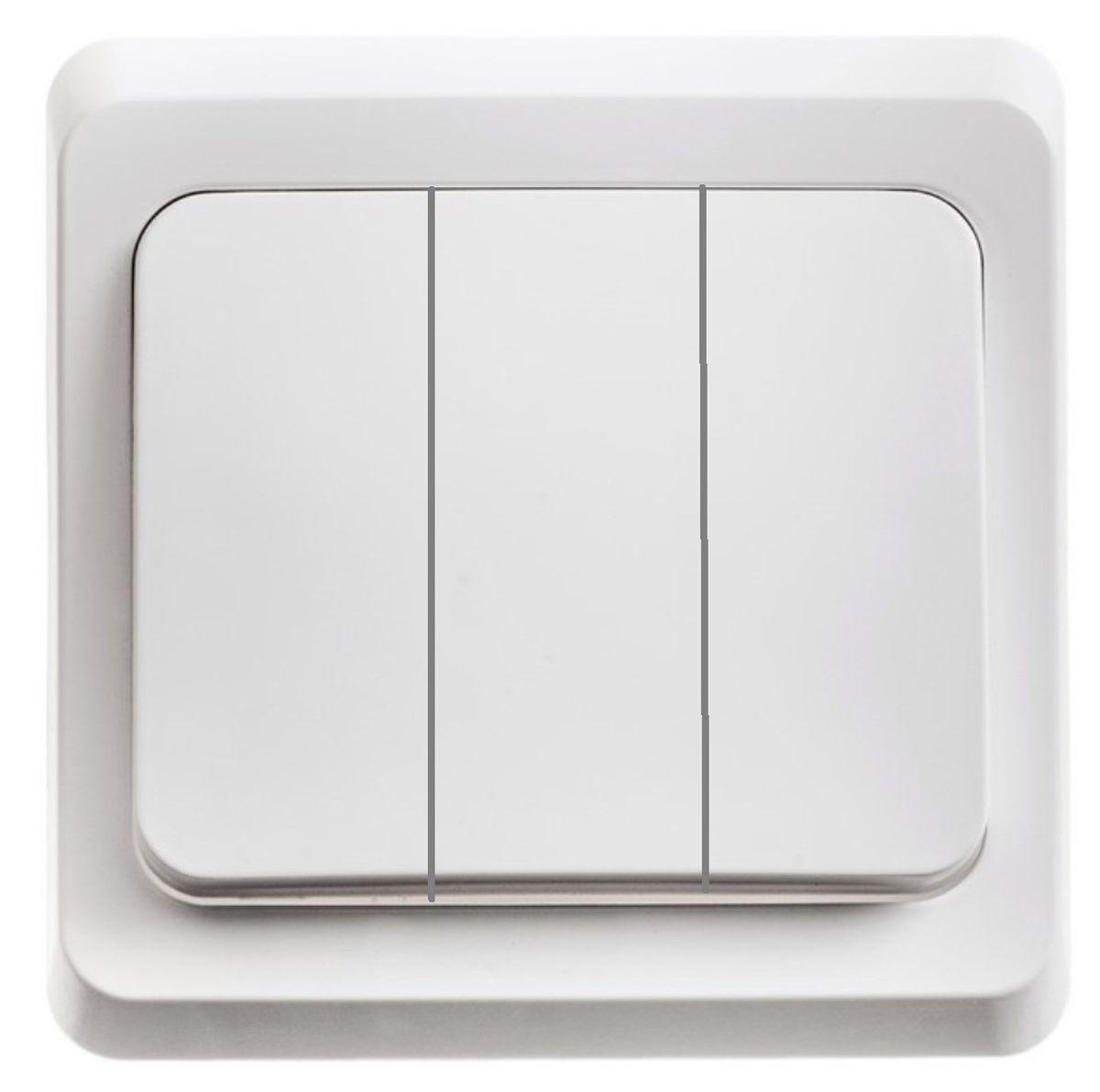 Выключатель Schneider Electric Этюд, тройной, цвет: белый. BC10-003BC10-003BТрехклавишный выключатель Schneider Electric Этюд предназначен для скрытой установки. Выполнен из высококачественного пластика. Изделие просто в установке, надежно в эксплуатации. Специальное покрытие не позволяет пыли собираться на поверхности. Такой выключатель станет удачным решением для дома и дачи. Функция выключателя: двухканальный. Тип контактов: 2 Н.О. Диапазон мощности: Номинальный ток: 250 В. Тип клемм: винтовые зажимы 2,5 мм2. Длина зачистки проводов: 11 мм. Степень защиты: IP20.