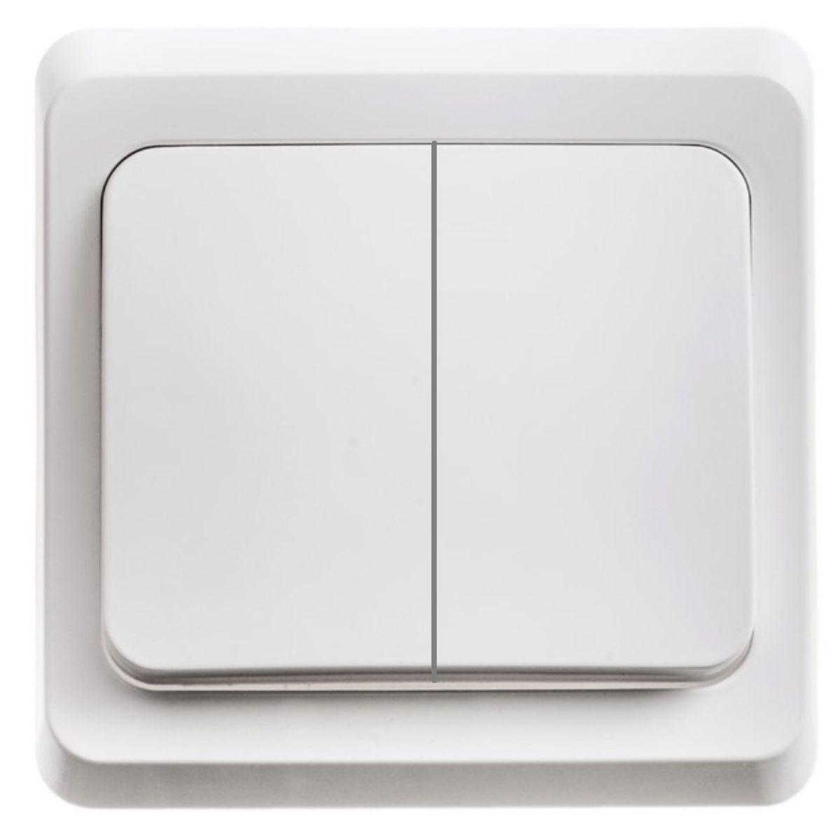 """Выключатель Schneider Electric """"Этюд"""", двойной, с подсветкой, цвет: белый. BC10-006 BC10-006B"""