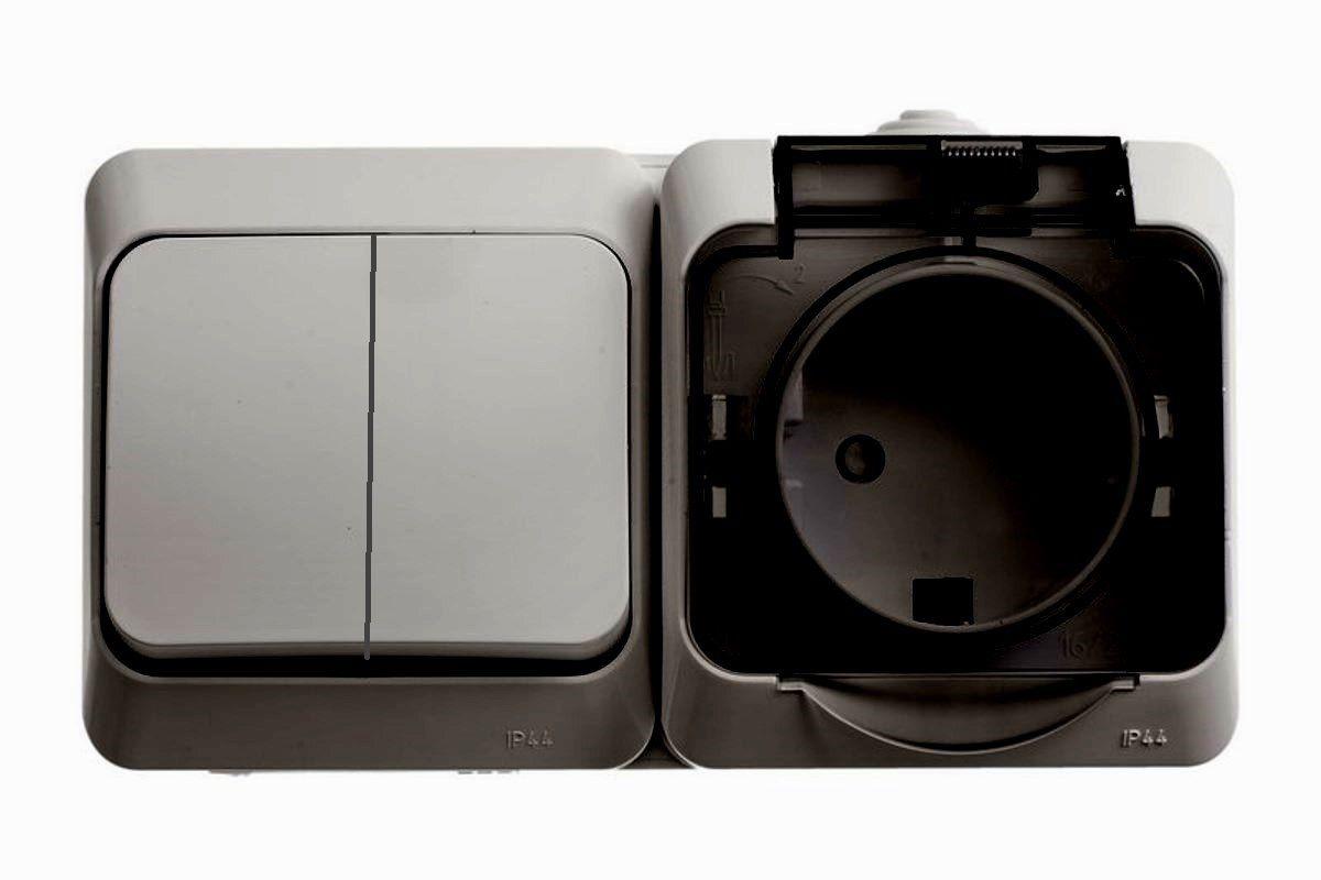 Блок двойной Schneider Electric Этюд, цвет: серый. BPA16-242CBPA16-242CДвойной блок Schneider Electric Этюд представляет собой двухклавишный выключатель и розетку с заземляющим контактом и шторками. Розетка снабжена прозрачной защитной крышкой. Блок открытой установки.